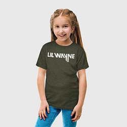 Футболка хлопковая детская Lil Wayne цвета меланж-хаки — фото 2