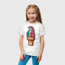 Футболка хлопковая детская Мороженое-осьминог цвета белый — фото 2