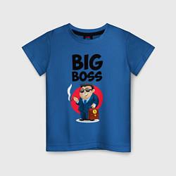 Футболка хлопковая детская Big Boss / Начальник цвета синий — фото 1