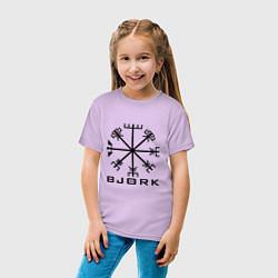Футболка хлопковая детская Bjork Rune цвета лаванда — фото 2