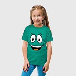 Футболка хлопковая детская Радостный смайлик цвета зеленый — фото 2