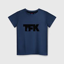 Футболка хлопковая детская TFK: Black Logo цвета тёмно-синий — фото 1