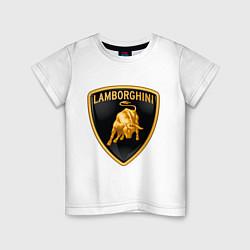 Футболка хлопковая детская Lamborghini logo цвета белый — фото 1