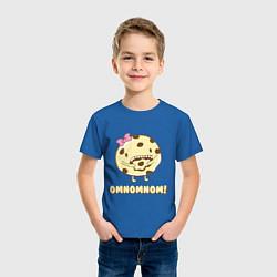 Футболка хлопковая детская Cake: Omnomnom! цвета синий — фото 2