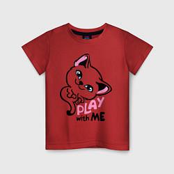Футболка хлопковая детская Cat: Play with me цвета красный — фото 1