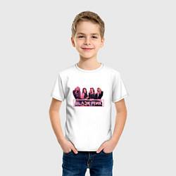 Футболка хлопковая детская Black Pink Band цвета белый — фото 2