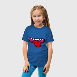 Футболка хлопковая детская Зубастый рот и язычок цвета синий — фото 2