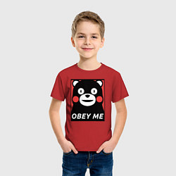 Футболка хлопковая детская Kumamon: Obey Me цвета красный — фото 2