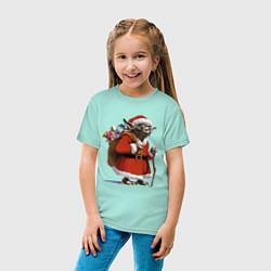 Детская хлопковая футболка с принтом Йода Клаус, цвет: мятный, артикул: 10168984700014 — фото 2