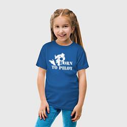 Футболка хлопковая детская Born to pilot цвета синий — фото 2