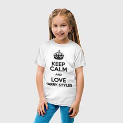 Футболка хлопковая детская Keep Calm & Love Harry Styles цвета белый — фото 2
