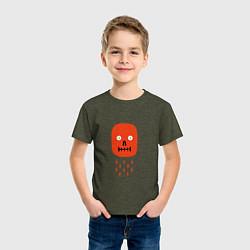 Футболка хлопковая детская Кнопка психодел цвета меланж-хаки — фото 2