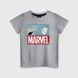 Футболка хлопковая детская Thor: Marvel цвета меланж — фото 1