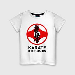 Футболка хлопковая детская Karate Kyokushin цвета белый — фото 1