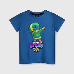 Футболка хлопковая детская Brawl Stars Leon, Dab цвета синий — фото 1