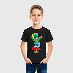 Футболка хлопковая детская Brawl Stars Leon, Dab цвета черный — фото 2