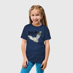 Футболка хлопковая детская Гарри Поттер: Букля цвета тёмно-синий — фото 2