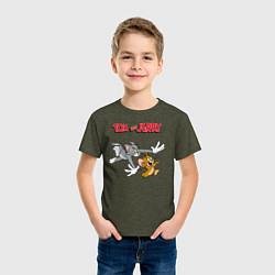Футболка хлопковая детская Tom & Jerry цвета меланж-хаки — фото 2