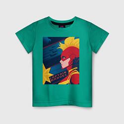Футболка хлопковая детская Капитан Марвел Мстители цвета зеленый — фото 1