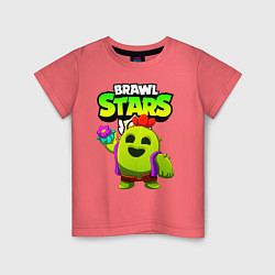 Футболка хлопковая детская BRAWL STARS SPIKE цвета коралловый — фото 1