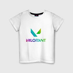 Футболка хлопковая детская Valorant цвета белый — фото 1