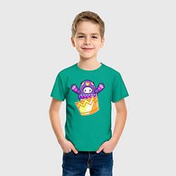 Футболка хлопковая детская Fall guys цвета зеленый — фото 2