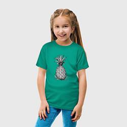 Футболка хлопковая детская Ананас Моргенштерна цвета зеленый — фото 2