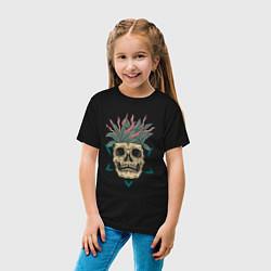Футболка хлопковая детская Череп Моргенштерна цвета черный — фото 2