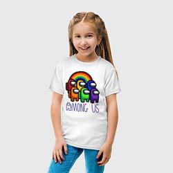 Футболка хлопковая детская Among Us радуга цвета белый — фото 2