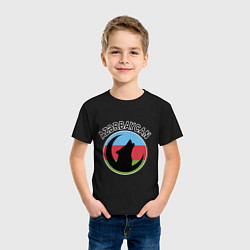 Футболка хлопковая детская Азербайджан цвета черный — фото 2