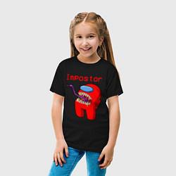 Футболка хлопковая детская AMONG US - IMPOSTOR цвета черный — фото 2