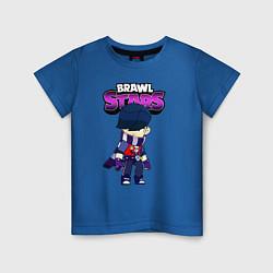 Футболка хлопковая детская Brawl StarsEdgar цвета синий — фото 1