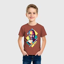 Футболка хлопковая детская Steve Jobs Art цвета кирпичный — фото 2
