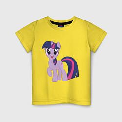 Футболка хлопковая детская Пони Сумеречная Искорка цвета желтый — фото 1