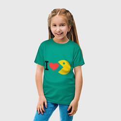 Футболка хлопковая детская I love Packman цвета зеленый — фото 2