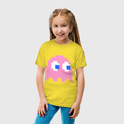 Футболка хлопковая детская Pac-Man: Pinky цвета желтый — фото 2