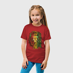 Футболка хлопковая детская Rasta Lion цвета красный — фото 2