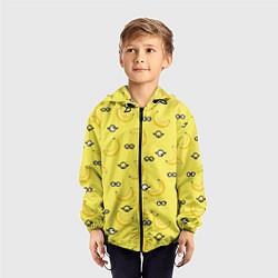 Ветровка с капюшоном детская Банановые миньоны цвета 3D-черный — фото 2