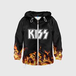 Ветровка с капюшоном детская Kiss: Hell Flame цвета 3D-белый — фото 1