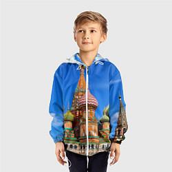 Ветровка с капюшоном детская Храм Василия Блаженного цвета 3D-белый — фото 2