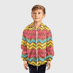 Ветровка с капюшоном детская Цветные зигзаги цвета 3D-белый — фото 2
