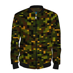 Бомбер мужской Камуфляж пиксельный: хаки цвета 3D-черный — фото 1