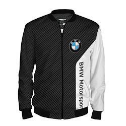Мужской 3D-бомбер на молнии с принтом BMW Motorsport: Black Carbon, цвет: 3D-черный, артикул: 10142966304420 — фото 1