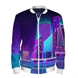 Бомбер мужской Neon Nights цвета 3D-белый — фото 1