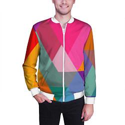 Бомбер мужской Разноцветные полигоны цвета 3D-белый — фото 2