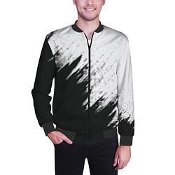 Бомбер мужской Черно-белый разрыв цвета 3D-черный — фото 2