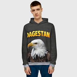 Толстовка-худи мужская Dagestan Eagle цвета 3D-меланж — фото 2