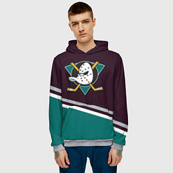 Толстовка-худи мужская Anaheim Ducks цвета 3D-меланж — фото 2