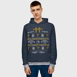 Толстовка-худи мужская Новогодний свитер Чужой цвета 3D-меланж — фото 2