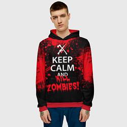 Толстовка-худи мужская Keep Calm & Kill Zombies цвета 3D-красный — фото 2